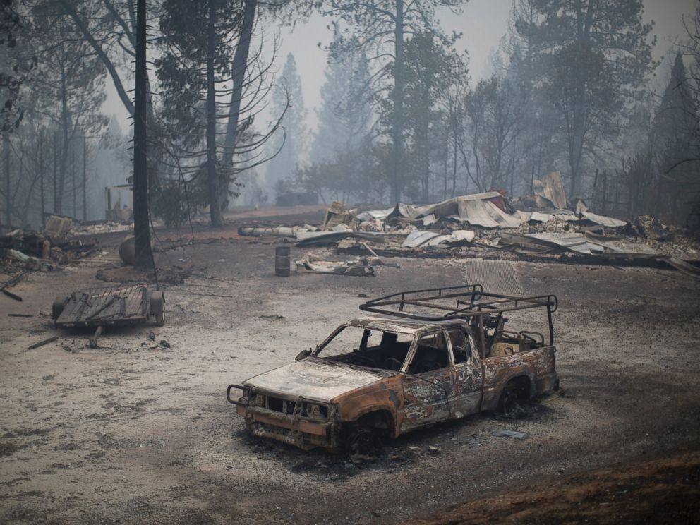 PHOTO: A burned truck and structures are seen at the Butte Fire, Sept. 13, 2015 near San Andreas, Calif.