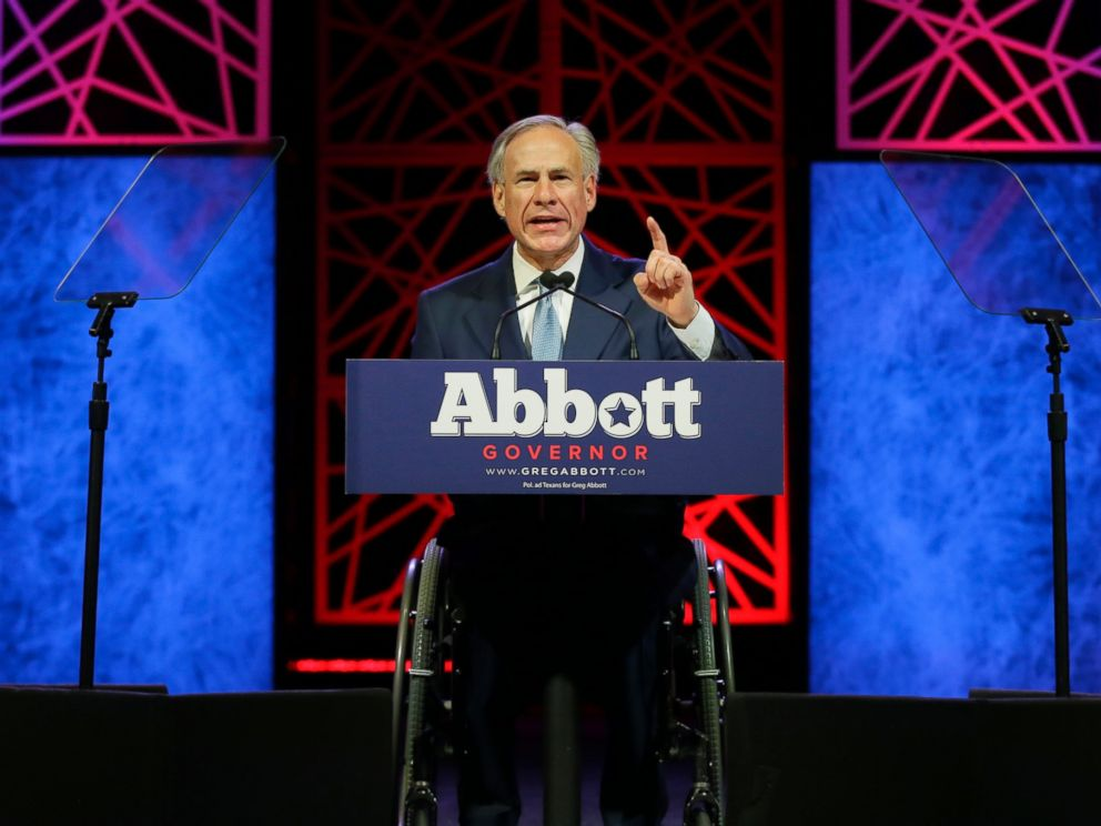 PHOTO: Texas Gov. Greg Abbott speaks during the opening of the Texas Republican Convention, May 12, 2016, in Dallas.