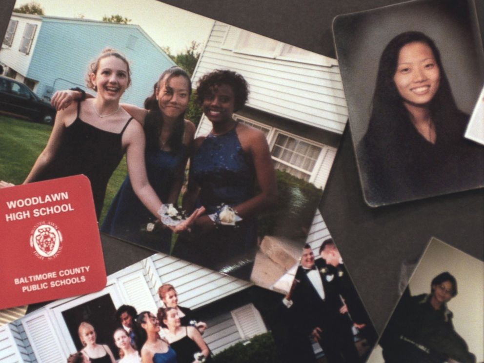 PHOTO: A collage of photographs of Hae Min Lee and her friends were on display at Lees memorial service, March 11, 1999, in Baltimore, Md.