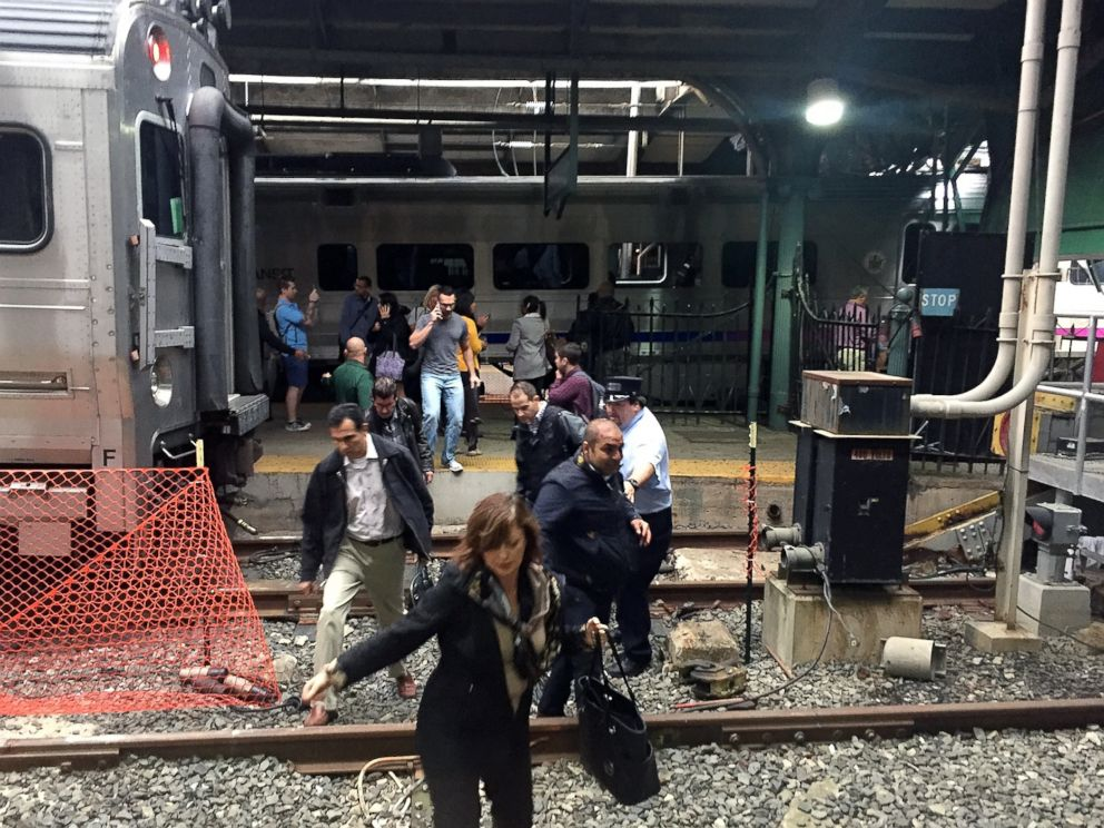 PHOTO: Passengers rush to safety after a NJ Transit train crashed in to the platform at the Hoboken Terminal Sept. 29, 2016, in Hoboken, New Jersey.