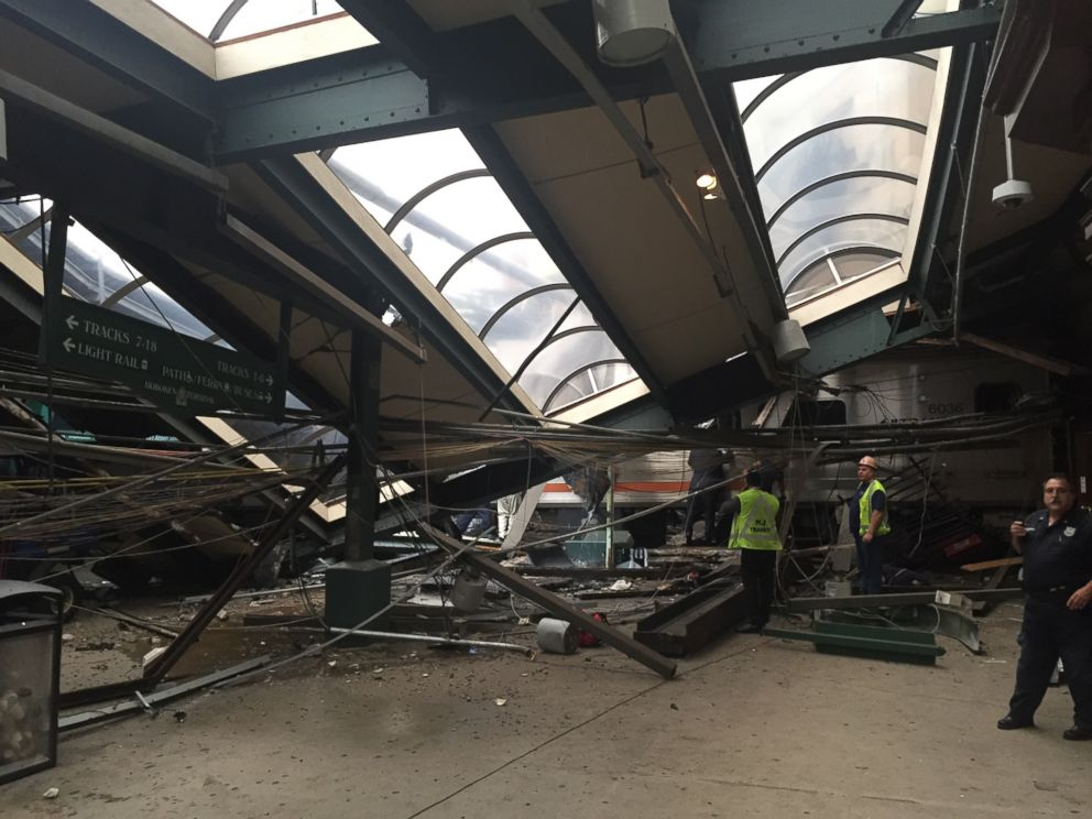PHOTO: A NJ Transit train seen through the wreckage after it crashed in to the platform at the Hoboken Terminal Sept. 29, 2016 in Hoboken, New Jersey.