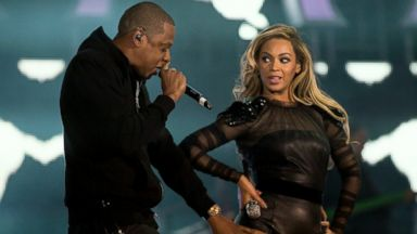 """PHOTO: Jay-Z joins Beyonce on stage at the """"Chime For Change: The Sound Of Change Live"""" Concert at Twickenham Stadium, June 1, 2013, in London."""