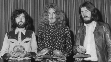 PHOTO: Led Zeppelin collect their geode awards after being voted top British group in the Melody Maker Pop Poll in London, Sept. 16, 1970.