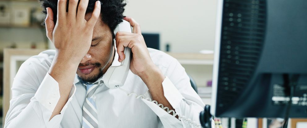 PHOTO: A man on the phone appears frustrated in this undated file photo.