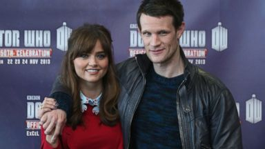 PHOTO: Actors Matt Smith and Jenna Coleman in the science fiction series Doctor Who pose for a photograph at the Doctor Who 50th Celebration event in the ExCeL center on Nov. 22, 2013 in London.