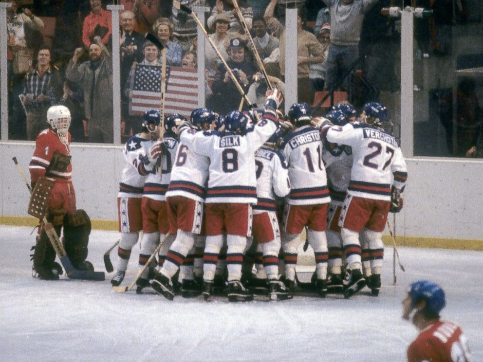 PHOTO: The United States and the Soviet Union shake hands after the semifinal hockey game during the Winter Olympics in Lake Placid, New York, Feb. 22, 1980.