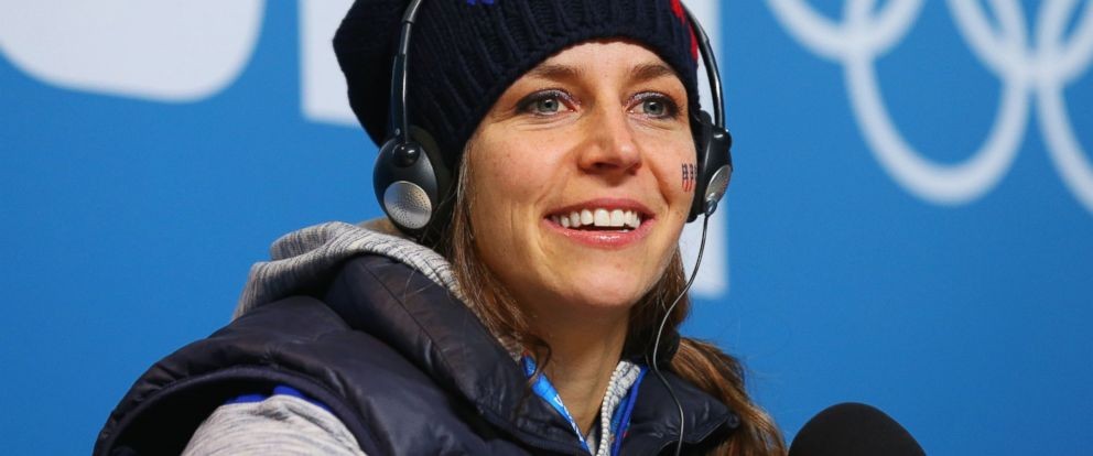 PHOTO: Noelle Pikus-Pace of the United States attends a press conference after the Womens Skeleton on Day 7 of the Sochi 2014 Winter Olympics on Feb. 14, 2014 in Sochi, Russia.
