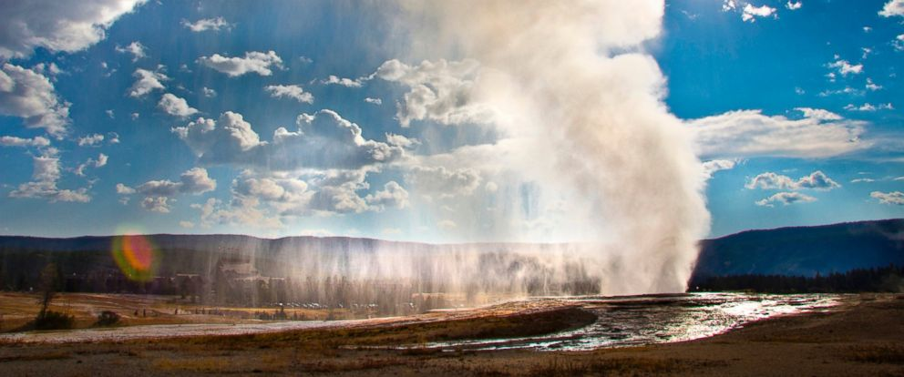 PHOTO: Old Faithful geyser is seen erupting at Yellowstone National Park in Wyoming.