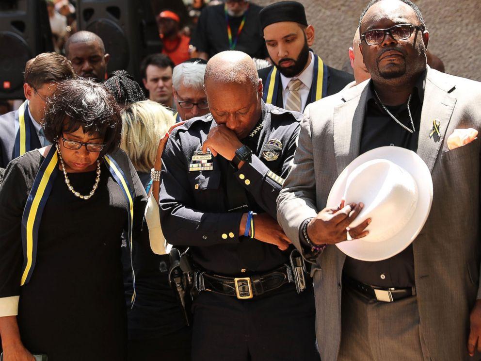 PHOTO: Dallas Police Chief David Brown pauses at a prayer vigil July 8, 2016 in Dallas.