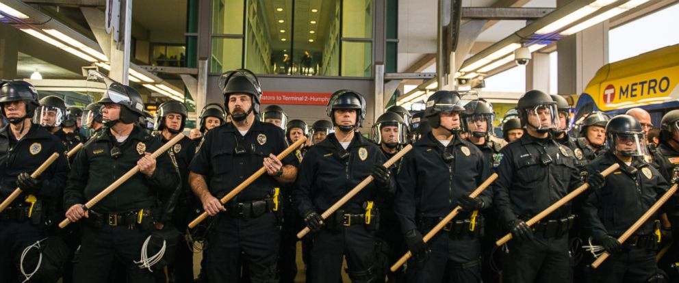 PHOTO: Police lined up at the Minneapolis-St. Paul International airport Lightrail stop, where a number of Black Lives Matter protesters attempted to enter the airport, Dec. 23, 2015 in Minneapolis.