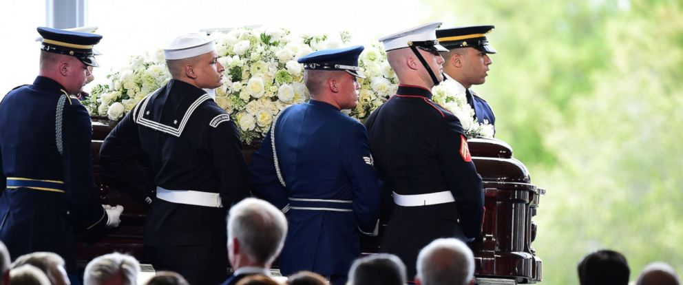 PHOTO: The casket of US former First Lady Nancy Reagan is carried to her funeral service, March 11, 2016, at the Ronald Reagan Presidential Library in Simi Valley, California.