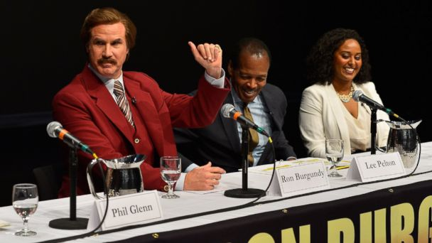 PHOTO: Will Ferrell in character as Ron Burgundy answers questions