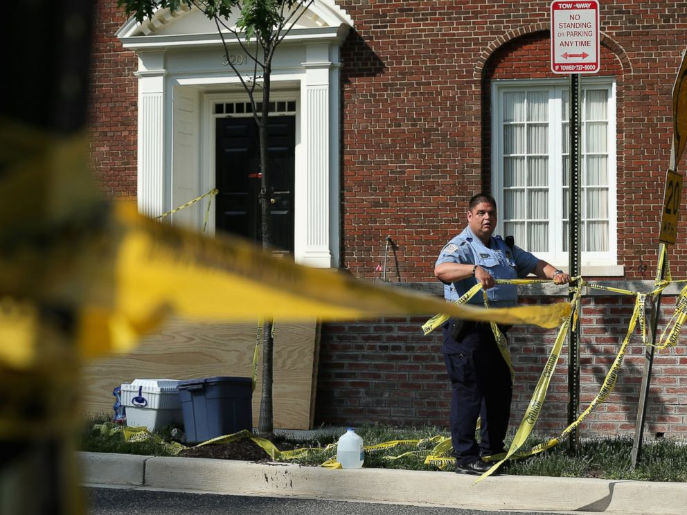 PHOTO: The police at the 3200 block of Woodland Drive NW, May 19, 2015, in Washington. Firefighters discovered the bodies of Savvas Savopoulos, his wife Amy, their son Philip, and the housekeeper, Veralicia Figueroa, at the house.