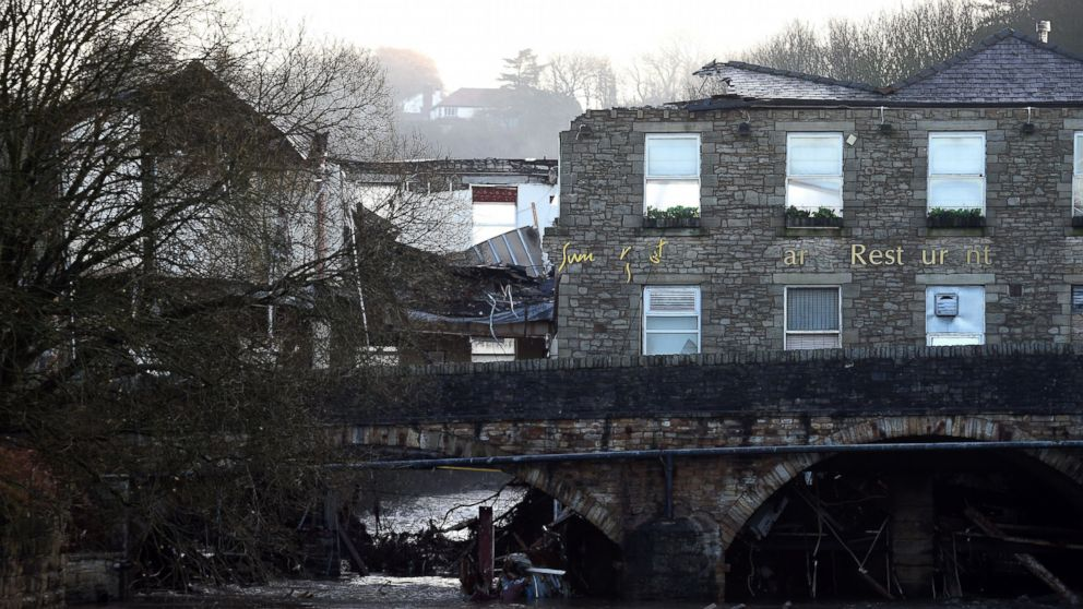 Damage to The Waterside Pub, a two hundred year old public house is pictured, Dec. 27, 2015, the day after the River Irwell, swelled by exceptionally heavy rainfall swept through the village of Summerseat in Greater Manchester causing widespread damage.