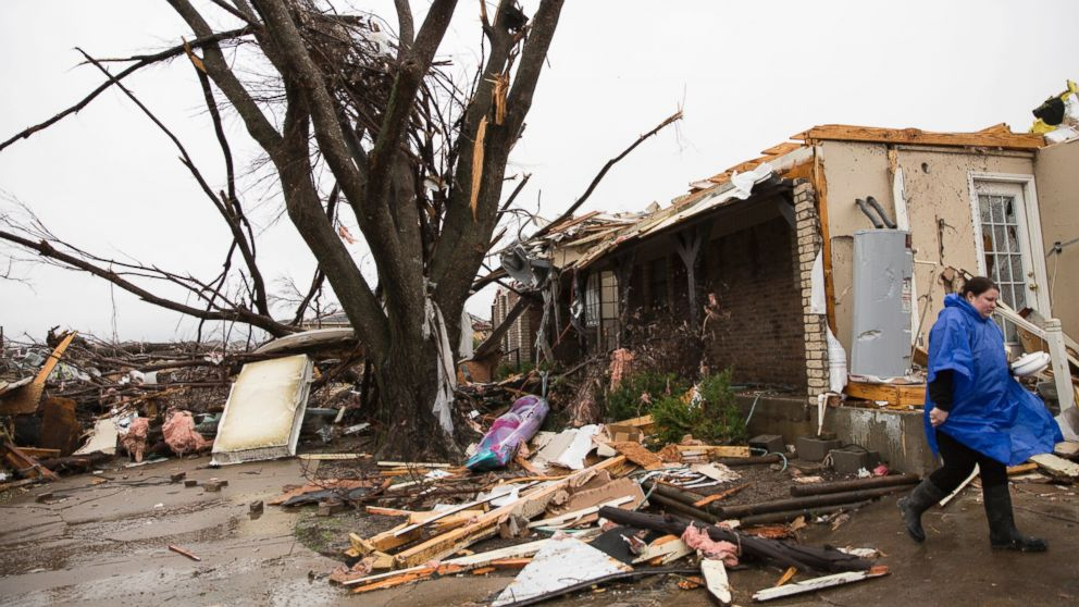 A heavily damaged area is seen in the aftermath of a tornado in Rowlett, Texas, Dec. 27, 2015.