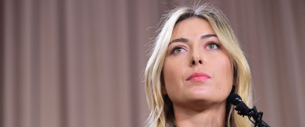 PHOTO: Maria Sharapova speaks at a press conference in downtown Los Angeles, California, March 7, 2016.