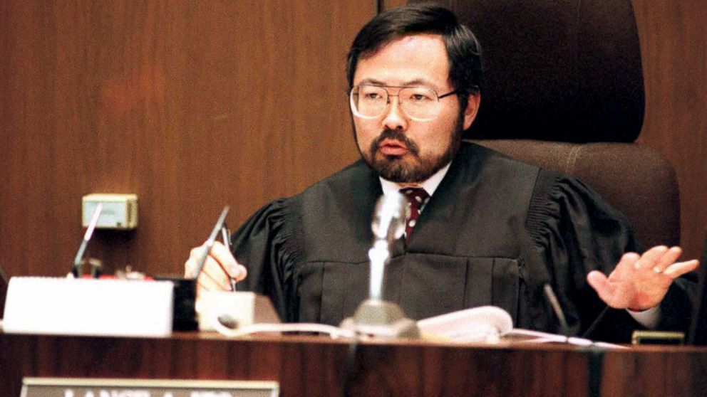 Judge Lance Ito talks to the court after issuing sanctions against the defense for violating California law during its opening statements in the OJ Simpson double murder trial Jan. 30, 1995, in Los Angeles.