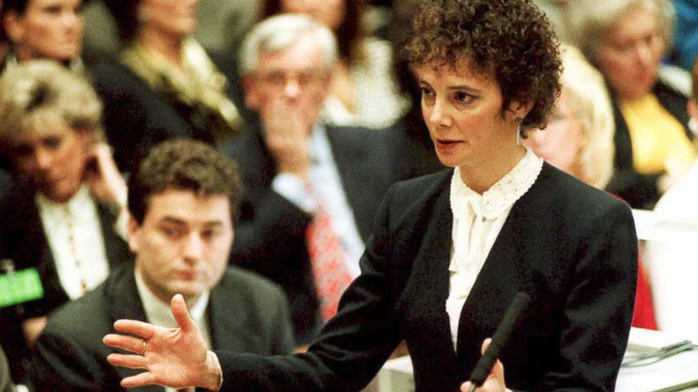 Deputy district attorney Marcia Clark gestures as she addresses the jury with the prosecutions opening statements in the O.J. Simpson murder trial Jan. 24, 1995, in Los Angeles.