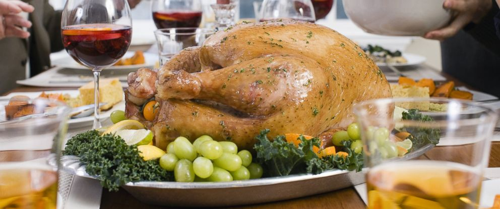 PHOTO: A family is seen having Thanksgiving dinner in this stock photo.