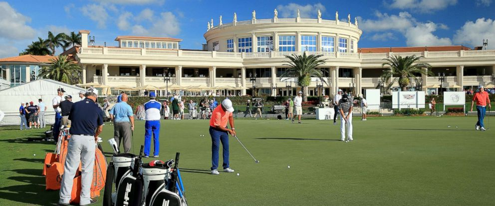 PHOTO: The putting green in front of the main resort building and clubhouse as a preview for the Cadillac Championship held on the Blue Monster Course at Trump National Doral is pictured March 3, 2015, in Doral, Fla.