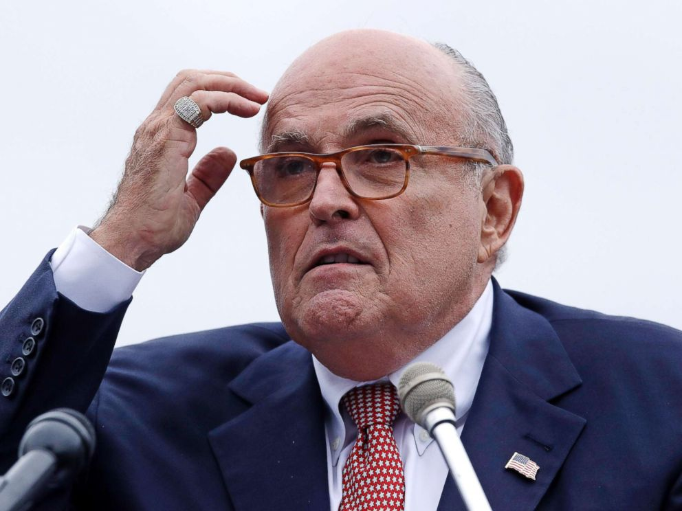 PHOTO: Rudy Giuliani, an attorney for President Donald Trump, addresses a gathering during a campaign event for Eddie Edwards, who is running for the U.S. Congress, in Portsmouth, N.H., Aug. 1, 2018.