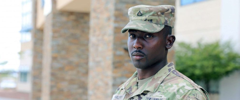 PHOTO: Pfc. Glendon Oakley, a native of Killeen, Texas and an automated logistical specialist in the U.S. Army assigned to Fort Bliss, helped children to safety during the mass shooting at a Walmart in El Paso, Texas, August 3, 2019.