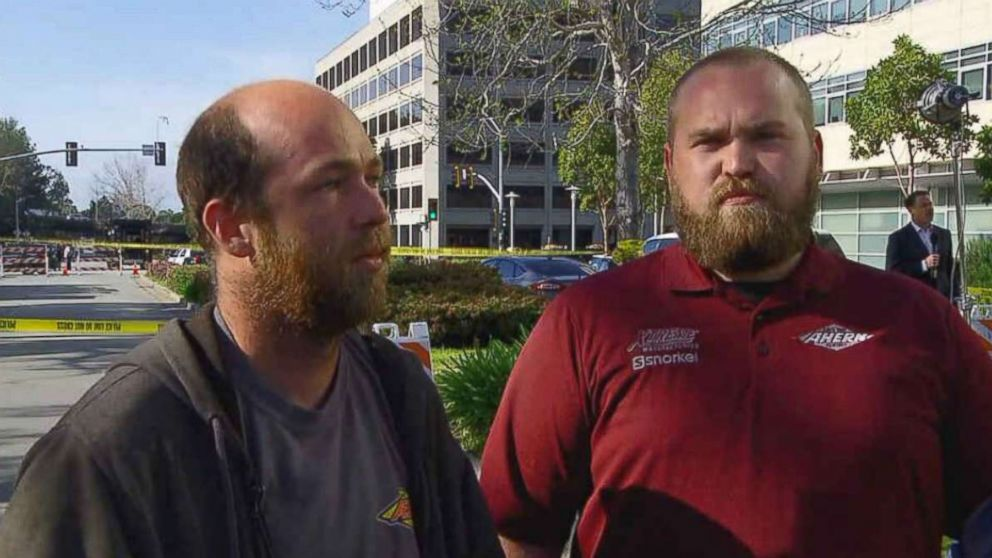 Good Samaritans Tim McCarthy and Travis Ganley were having lunch at the Carl's Jr. near YouTube's headquarters in San Bruno, California, when they beckoned people fleeing the shooting into the fast food restaurant, they told ABC News.