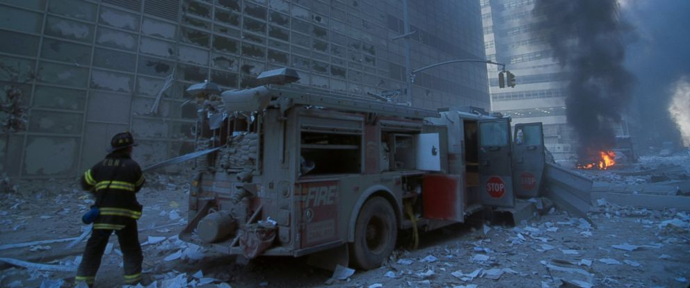 PHOTO: A New York Firefighter amid the rubble of the World Trade Centre following the 9/11 attacks.