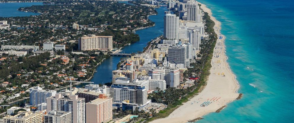 PHOTO: An aerial view of Miami Beach and South Beach from the MetLife blimp on March 8, 2014