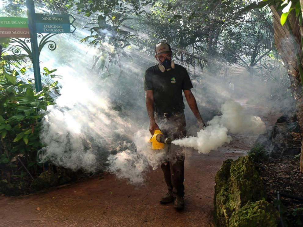 PHOTO: A grounds keeper at Pinecrest Gardens, former home of the historic Parrot Jungle, uses a blower to spray pesticide to kill mosquitos Aug. 4, 2016 in Miami