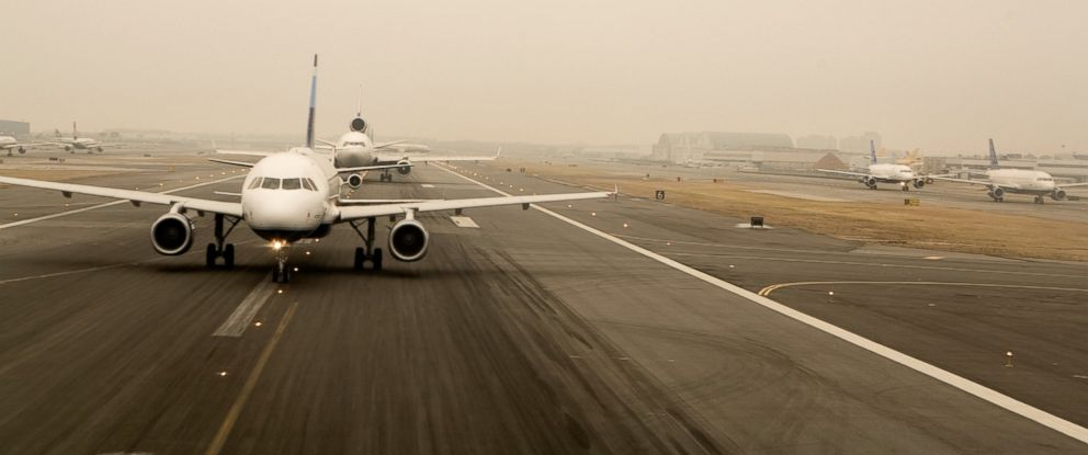 PHOTO: Airplanes line up for takeoff at JFK Airport in New York.