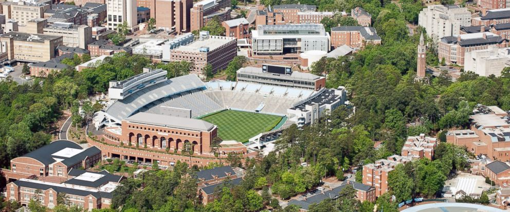 PHOTO: An aerial view of the University of North Carolina campus in Chapel Hill.