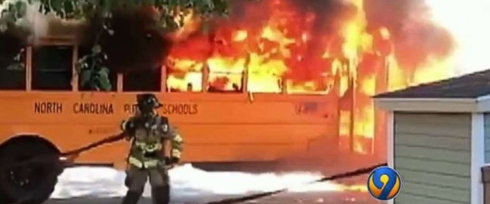 All 16 students escaped unharmed as their school bus exploded in flames in Charlotte, North Carolina.
