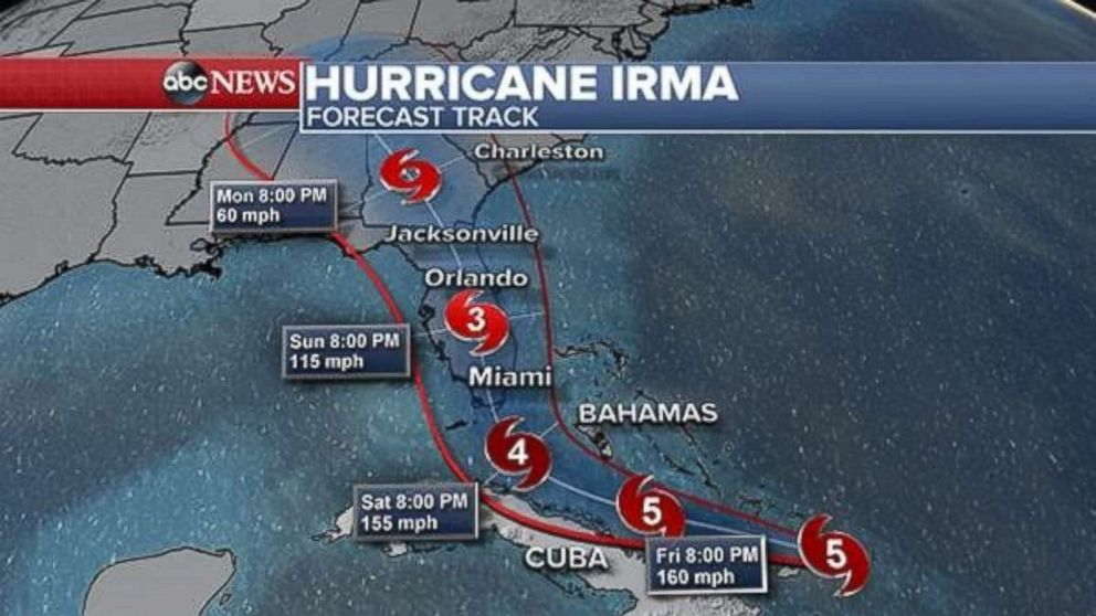 The latest projections on Thursday, Sept. 7, 2017 show Hurricane Irma will approach South Florida late Saturday or early Sunday.