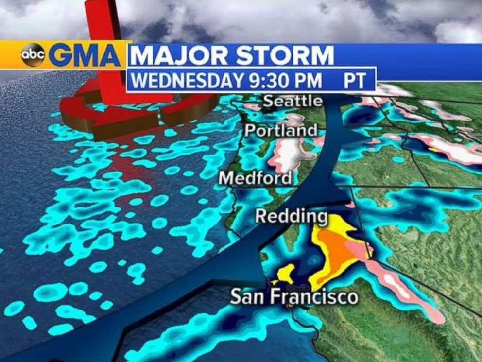 A major storm is moving onto the West Coast on Wednesday into Thursday.