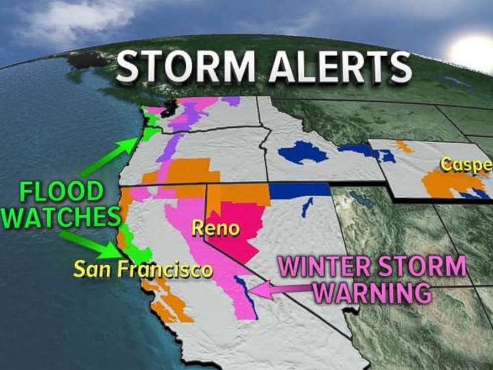 Storm alerts were in effect across the West ahead of a big storm on Nov. 15, 2017.