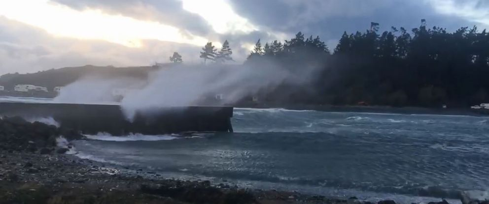At Whidbey Island, north of Seattle, where this screengrab from a video was taken, wind gusts of around 60 mph were recorded at a ferry terminal.