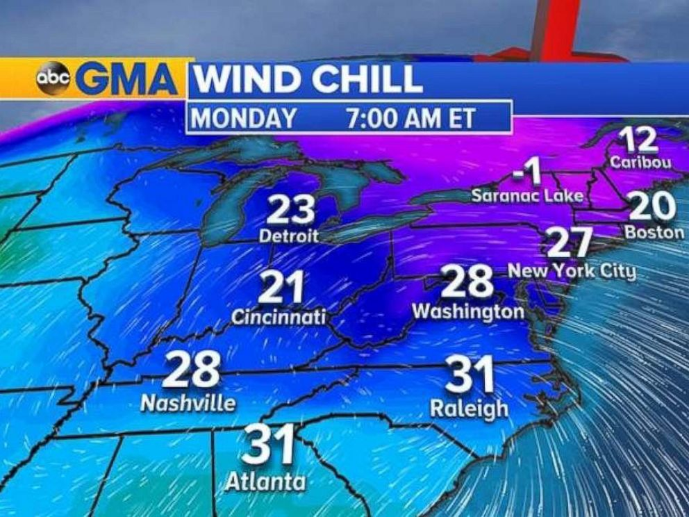 Wind chill temperatures will fall below freezing to start the Thanksgiving week.