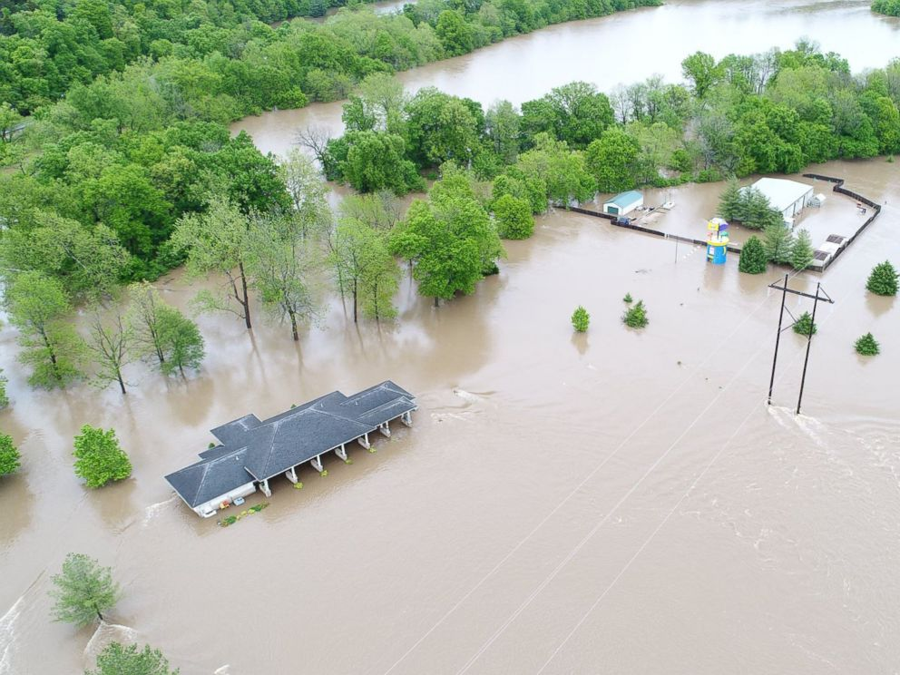 PHOTO: This image taken on April 30, 2017, shows flooding in the Ozark area south of Springfield, Mo.