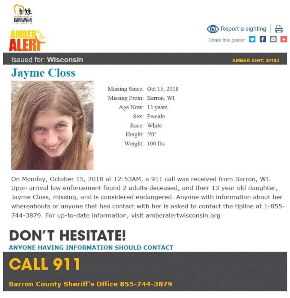 "Police declared Jayme Closs, of Wisconsin, ""missing and endangered"" after finding her parents dead on Monday, Oct. 16, 2018."
