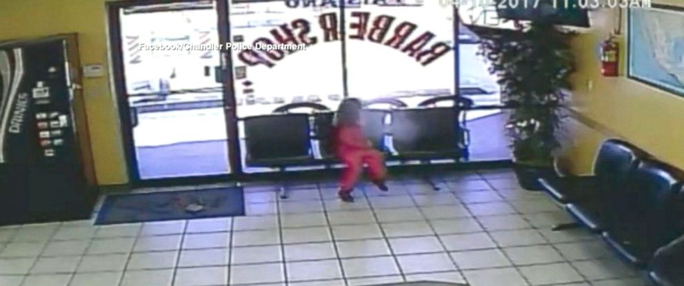 PHOTO: The girl was sitting in a barbershop in Chandler, Arizona, when bullets flew in through a nearby window.