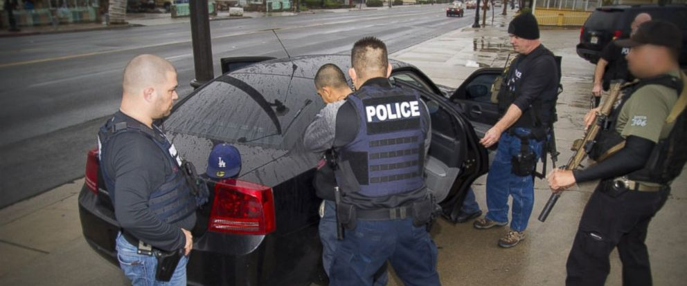 PHOTO: Foreign nationals were arrested this week during a targeted operation conducted by U.S. Immigration and Customs Enforcement (ICE) aimed at immigration fugitives, re-entrants and at-large criminal aliens, Feb. 7, 2017 in Los Angeles, Calif.