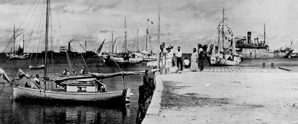 """PHOTO: A HISTORY two-hour special """"Amelia Earhart: The Lost Evidence,"""" premiering July 9, 2017, includes this never-before-seen photo presumed to be of the American Aviator Amelia Earhart and navigator Fred Noonan after their crash."""