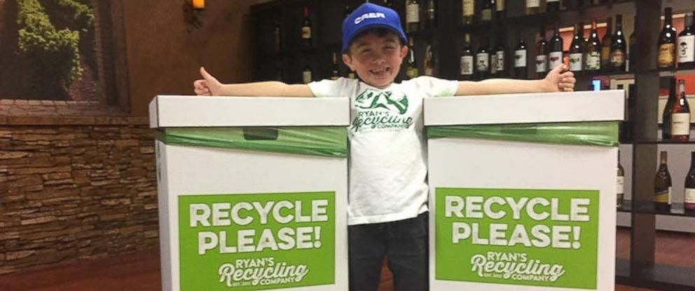PHOTO: Ryan Hickman, 7, has started his own recycling business in his Orange, County, California, neighborhood.