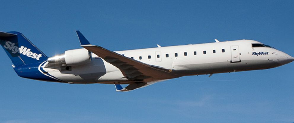 PHOTO: A SkyWest CRJ200 jet shown in flight.