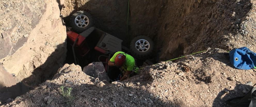 PHOTO: A man was rescued from an open mineshafter in Utah after his UTV trapped him nearly 90-feet underground, May 7, 2017.