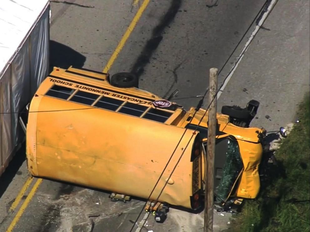 PHOTO: Students and a bus driver were hospitalized after a school bus crashed in East Lampeter Township , Pa., May 17, 2017.