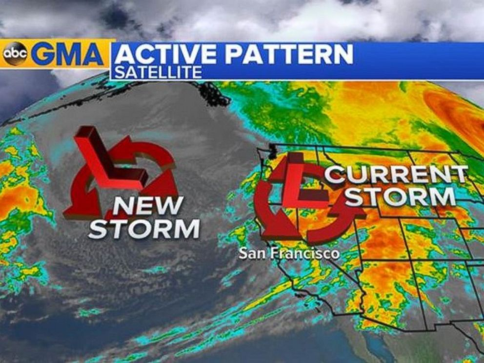 PHOTO: A satellite image shows the current status of the storm over California and a new storm moving in, Jan. 11, 2017.