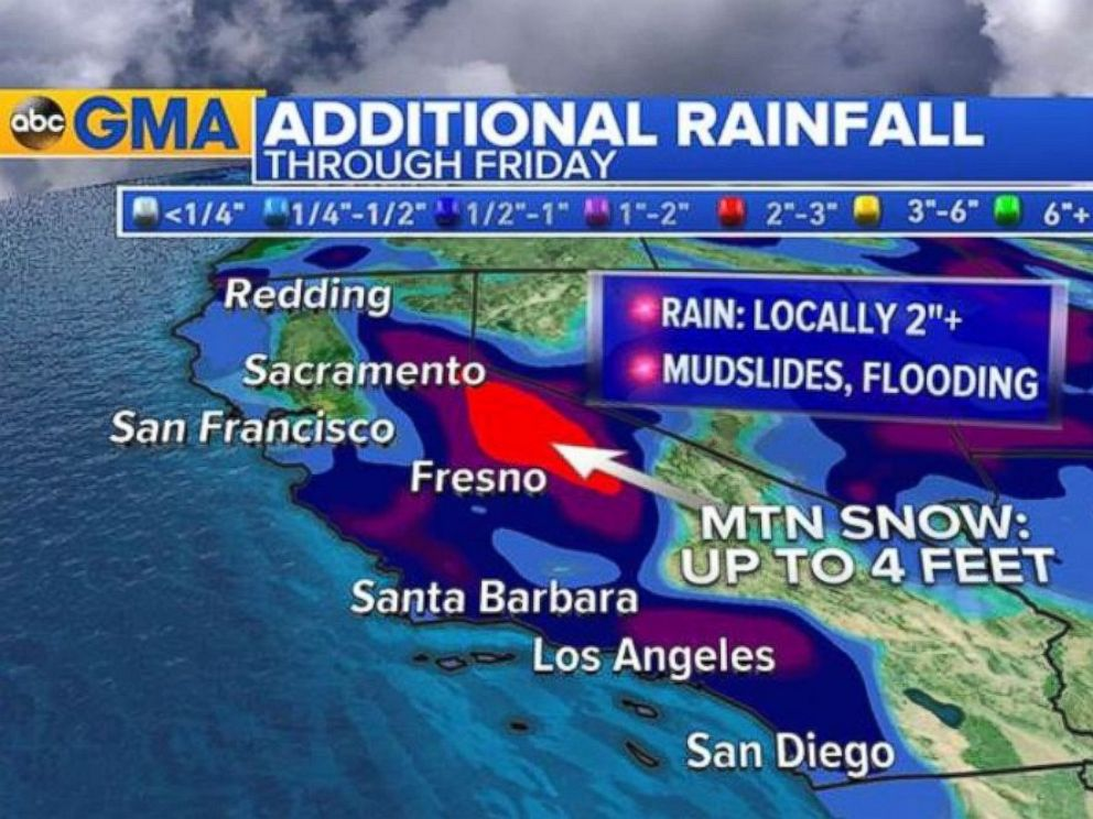 PHOTO: California will continue to see additional rainfall through Friday.