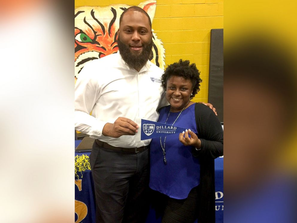 PHOTO: Whitehaven High School senior, Zariah Nolan, poses with Dillard University admissions counselor, Christopher Stewart, after making a decision to attend the historically black college in the fall.